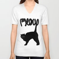 meow V-neck T-shirts featuring Meow by Florent Bodart / Speakerine