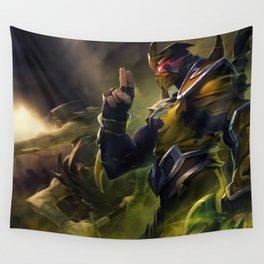 Yellow Jacket Shen Splash Art Wallpaper Background Official Art Artwork League of Legends lol Wall Tapestry