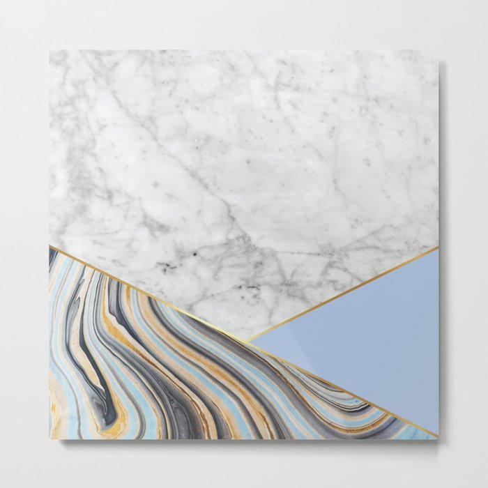 White Marble Blue Marble & Light Blue #368 Metal Print