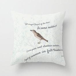 A Nightingale in full throat Throw Pillow