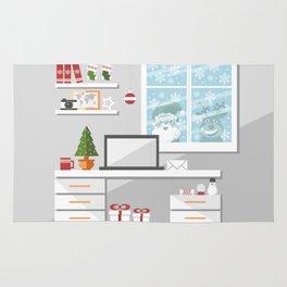 Christmastime office interior Rug