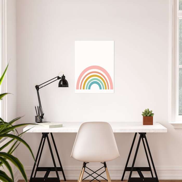 Simple Happy Rainbow Art Poster