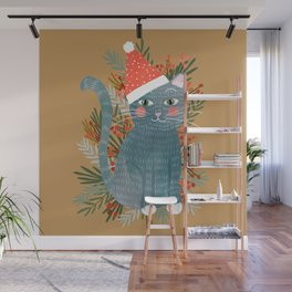Blue Cat cute christmas xmas tree holiday funny cat art cat lady gift unique pet gifts Wall Mural