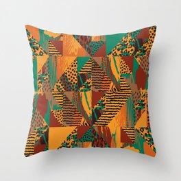 Geometrical orange brown green abstract safari animal print Throw Pillow