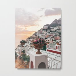 Amalfi Coast Positano Sunset Metal Print
