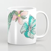 leah flores Mugs featuring flores by Lua Fraga