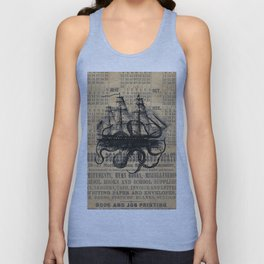 Octopus Kraken attacking Ship Antique Almanac Paper Unisex Tanktop
