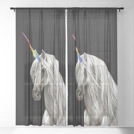 Unicorn in Black Sheer Curtain