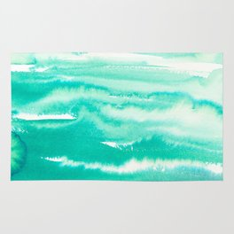Modern hand painted teal turquoise watercolor brushstrokes Rug