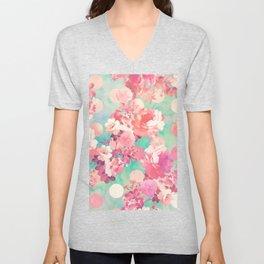 Romantic Pink Retro Floral Pattern Teal Polka Dots Unisex V-Neck