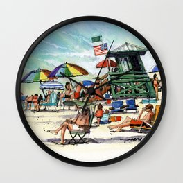 The Green Lifeguard Stand, Siesta Key Wall Clock