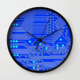Blue Circuit Board  Wall Clock