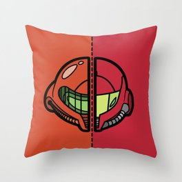 Old & New Samus Aran Throw Pillow
