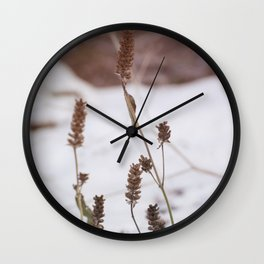 Plants in the snow Wall Clock