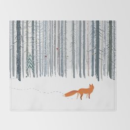 Fox in the white snow winter forest illustration Throw Blanket