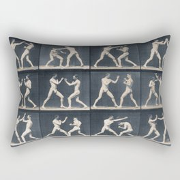 Time Lapse Motion Study Men Boxing Boxer Boxers Fighting Ring Rectangular Pillow
