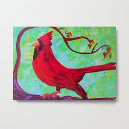 Festive Cardinal Metal Print