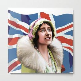 QUEEN ELIZABETH - QUEEN MOTHER with British Flag Metal Print