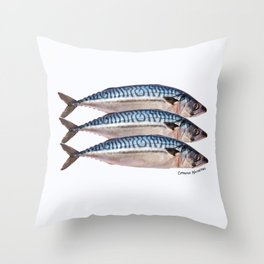 Fresh Cornish Mackerel Throw Pillow