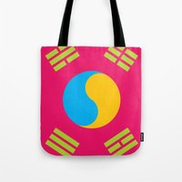 korea Tote Bags featuring Neon Nation SOUTH KOREA by T.K.O.