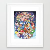 smash bros Framed Art Prints featuring SUPER SMASH BROS 4 by EB & JJ