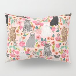 Cat floral mixed breeds of cats gifts for pet lovers cat ladies florals Pillow Sham
