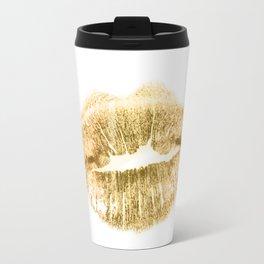E 21 Gold Lips Travel Mug