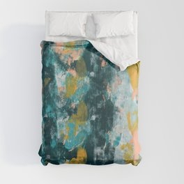 026: a vibrant abstract design in teal peach and yellow by Alyssa Hamilton Art Comforters