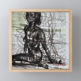 Sunset, Girl, Woman, Drawing Framed Mini Art Print