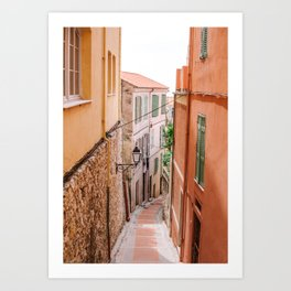 French orange & yellow town - Old house alley in Menton, France, South Europe | Travel photography Art Print