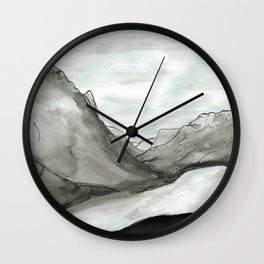 Ink mountains Wall Clock
