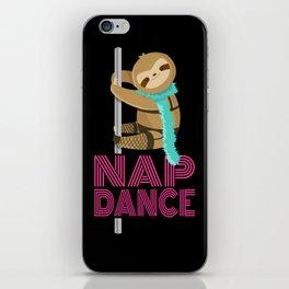 Funny Nap Dance Neon Sign Cute Sloth Pole Dancer iPhone Skin