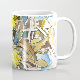 ground beneath my feet in spring: coltsfoot, dry leaves, grass Coffee Mug
