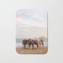Horses on the beach Bath Mat