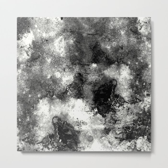 Deja Vu - Black and white, textured painting Metal Print