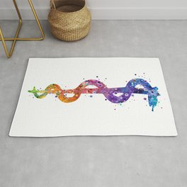 Rod of Asclepius Art Pharmacy Art Colorful Watercolor Decor Chemistry Art Doctors Office Decor Rug