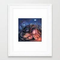 ghibli Framed Art Prints featuring Ghibli Sleepover by KehChoonWee