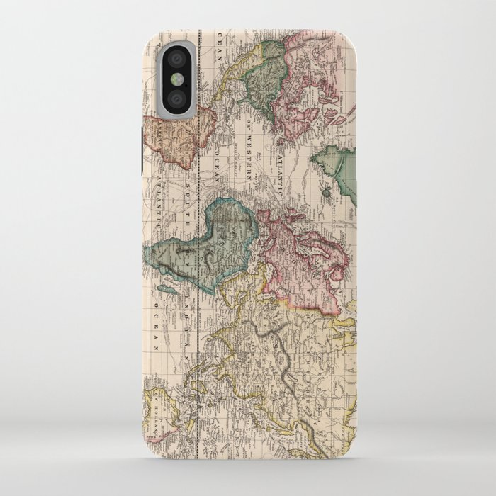 vintage map of the world (1833) iphone case