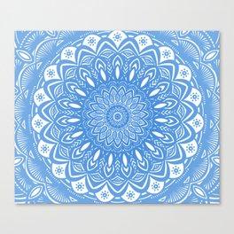Light Blue Cobalt Mandala Simple Minimal Minimalistic Canvas Print