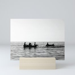 The dinghy and the boat Mini Art Print