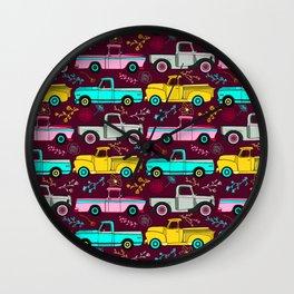 Floral Vintage Trucks Wall Clock