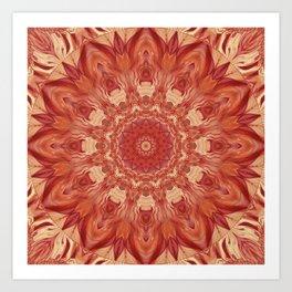Mandala Flower red Art Print