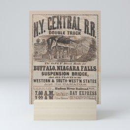 1863 New York Central Railroad Niagara Falls Broadside Advertisement Poster Mini Art Print