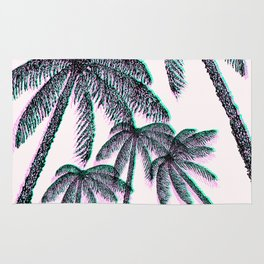 Tropical Palm Trees in Pink Teal Black Rug