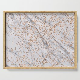 Rose gold diamond confetti on marble Serving Tray