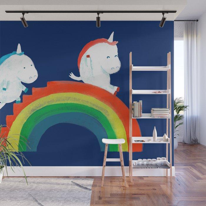Unicorn on rainbow slide Wall Mural