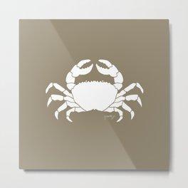 Crab Beige Background Metal Print