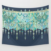theatre Wall Tapestries featuring Art Deco Double Drop in Blues and Greens by micklyn