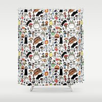ghibli Shower Curtains featuring Kawaii Ghibli Doodle by KiraKiraDoodles