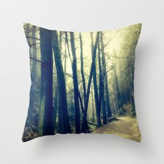 in the forest dark and shaded Throw Pillow